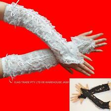 Bridal Wedding Goth Lace Party Prom Fingerless GAUNTLET Arm Warmers Gloves Cuffs