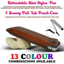 Brown Pull Tab PU Leather Case Cover Pouch Slide In Sleeve+Mini Retractable Pen