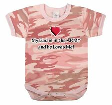Girl INFANT BABY PINK CAMO My dads in the Army and loves Me ONESY One piece