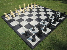 New Large Chess Set 20cm Plastic Chess Pieces Ideal for Outdoor Garden Game