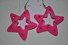 Awesome STAR shaped assorted acrylic colored wire post dangle pierced earrings