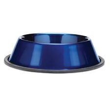 Anti Skid Dura-Gloss Metallic Stainless Steel Dog Pet Bowl Dish Sapphire Blue