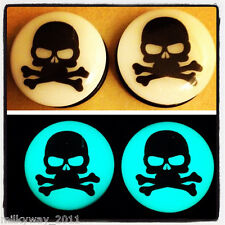 SKULL CROSSBONES ACRYLIC GLOW IN THE DARK EAR PLUGS GAUGES day of the dead sugar