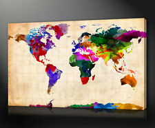 WORLD MAP PAINTING BOX FRAMED PRINT ON CANVAS HOME OFFICE DECOR