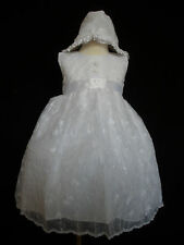New Baby Girl & Toddler 3 pc Christening Baptism Dress Gown size 6M-30 M white