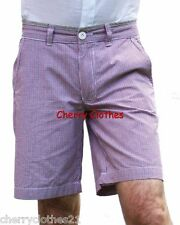 MENS RED & BLUE MICRO CHECK TAILORED CHINO SHORTS W 30 32 34 36