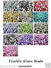 100pcs Smooth Crackled Glass Round Ball Spacer Beads 8mm 10mm Pick Colors