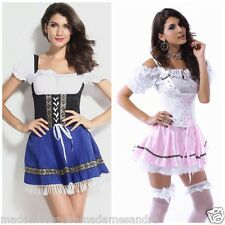 SEXY FRENCH MAID COSTUME BEER GIRL OUTFIT Blue Wench Fancy Dress Waitress. M1012