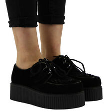 WOMEN LADIES FAUX SUEDE PUNK GOTH STUD DOUBLE PLATFORM FLAT CREEPER SHOES 3-8