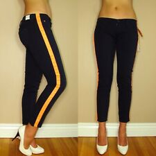 Celeb Fave Hudson Loulou Tuxedo Neon Orange Ziggy Navy Colored Stretch Jeans 28