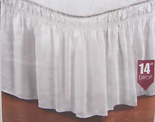 WRAP AROUND BED DUST RUFFLE SKIRT TWIN FULL QUEEN KING WHITE OFFWHITE MAUVE PINK