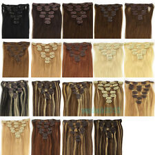 "15""18""20""22""7PCS Clip in 100% Human Hair Extensions Straight 19colors New"