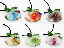 Flower Apple Ladybug lampwork Murano Glass Beaded Pendant Necklace p747/752