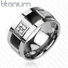 Solid Titanium Men's Ring With 2-Tone Black IP And Multi-CZ Blox Wedding Band