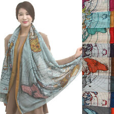 A524 WORLD MAP printed SCARF Gorgeous Lovely NEW print Shawl hollywood fashion