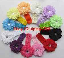 Girls Baby Lady Peony Flower Hairbow Clip Crochet Headbands Hair Bow 12pcs Lots