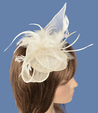 Spring Racing Race Party Caulfield Melbourne Cup Feather Linen Fascinator Hat