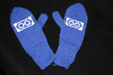 Metis Infinity Symbol Alpaca Mittens Mitaines Alpaga Blue Red Hand Knitted