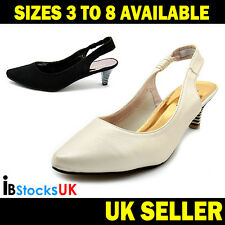 Ladies Women Girls Low Mid Heels Casual Sling Back Shoes Size 3 4 5 6 7 8