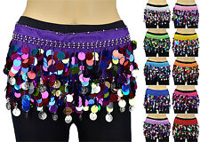 Belly Dance Hip Scarf Skirt Wrap Multi-color Coins Silver Coins Chiffon