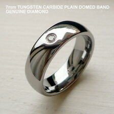 MEN'S 7MM TUNGSTEN CARBIDE plain domed BAND RING WITH GENUINE DIAMOND size 8-14