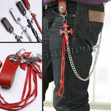 Men Wallet Key Chain Faux Leather Cross Jean Gothic Punk Rock Biker Motorcycle