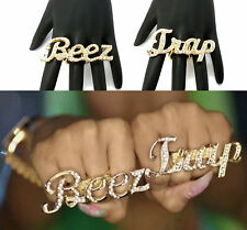 "New Nicki Minaj Inspired ""Beez in the Trap"" Iced Out BEEZ  TRAP Stretch Ring OS"
