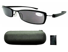 14019 Metal Frame Plastic Temple Gray Tinted Reading Glasses Sun Readers W/case