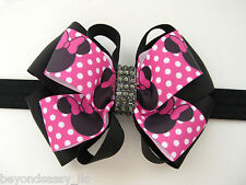 Pink Minnie Mouse Rhinestone Bling Elegant Boutique Hair Bow Black Headband Clip