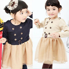 New Fashion Kids Dress 2-7Years double-breasted girls Dress (with belt) 0103