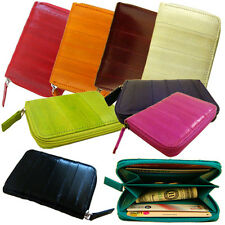 Genuine Eel Skin Coin Purse, Credit Card Zippered Wallet Purse