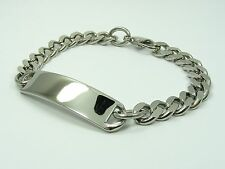 ~Custom Made~ Men STAINLESS STEEL Curb CHAIN w/ ID Engravable TAG BRACELET