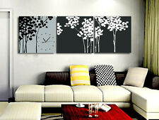 Artistic Trees in Black/Grey/White Clock Canvas Print Set High quality - Framed