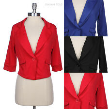 One Button Solid Plain 3/4 Sleeve Cropped Blazer Jacket Casual Cute Stylish Easy