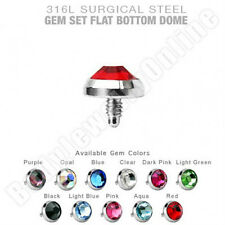 Dermal Anchor Tops 3mm Flat CZ 14g Surgical Steel