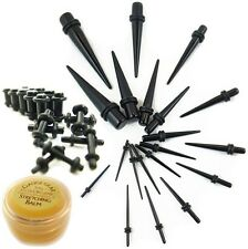 38 Pc Ear Stretching Black Taper Kit w/ plugs & GAUGE GEAR - Choose plug colors