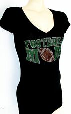 GREEN RHINESTONE FOOTBALL MOM  JUNIOR  SHEER  V NECK S M L 1XL 2XL 3XL SHIRT NEW
