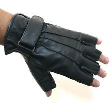 Biker Motorcycle Riding Fingerless Gloves Real Cow Hide Leather New