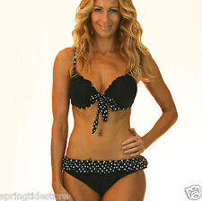 ♥ Black White Polkadot Bikini  ♥ Sexy Push Up Padded Bra  Sizes 8 10 12 14 16