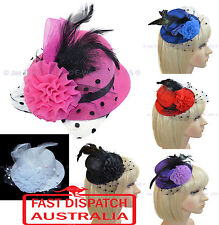 Spring Racing Cocktail Party Race Feather Cocktail Mini Top Hat Fascinator Clip