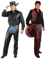 ADULT MENS COWBOY WESTERN COSTUME WILD WEST FAUX LEATHER CHAPS & VEST AND PLUS