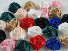 50/100PC Satin Ribbon Rose Flower DIY Craft Appliques Free shipping( Pick Color)