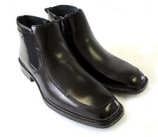 New MENS LEATHER ANKLE BOOTS CASUAL ZIPPERED  STRETCH FIT DRESS SHOES / BLACK