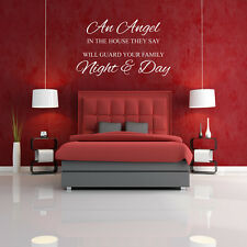 AN ANGEL IN THE HOUSE THEY SAY WALL ART QUOTE STICKER - BEDROOM VINYL DECAL