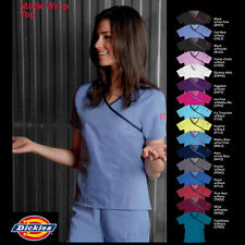 NEW Dickies Scrubs, Medical Uniform Mock Wrap Top - 15206 many colors and sizes