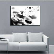 Chinese ink Painting B/W Lotus wall clock Quality Framed Canvas Print to hang