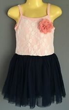 NWT Girls STUNNING Lace Blush Pink and Navy Party Dress Sizes 3,4,5,6 & 7
