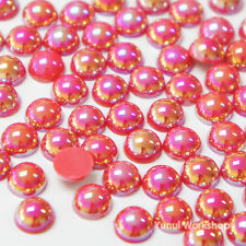 Fantasy Red AB (2mm - 10mm) Flatback Half Pearl Round Scrapbook Nail Craft DIY