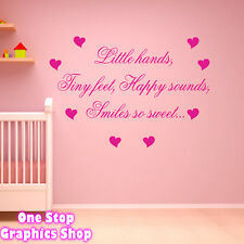 LITTLE HANDS TINY FEET WALL ART QUOTE STICKER -  BEDROOM KIDS BABY LOVE DECAL