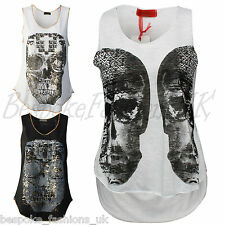 LADIES WOMEN'S SLEEVELESS SUMMER GOLD SKULL PRINT VEST TOP TEE SIZE SM ML